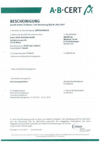BIO Zertifikat sonic drink 2018
